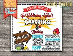 Printable Angry Birds Invitation by CandyCoatedParty