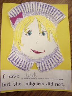 Pilgrim girl and boy project from paper plates. Writing to go along with it.