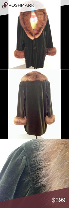 """BILL BLASS Mink/Velvet Vintage Coat Exquisite rich velvet hunter green mid length coat by famed designer, BILL BLASS. Beautifully thick mink shawl collar flows to just above waist - collar 6""""W at neck. 4"""" W mink cuffs embellish the loose fitting sleeves, deep front pockets. Designed for SAKS FIFTH AVE, made in USA in 1970's. Fastidiously cared for/stored properly. Excellent condition! BILL BLASS Jackets & Coats"""