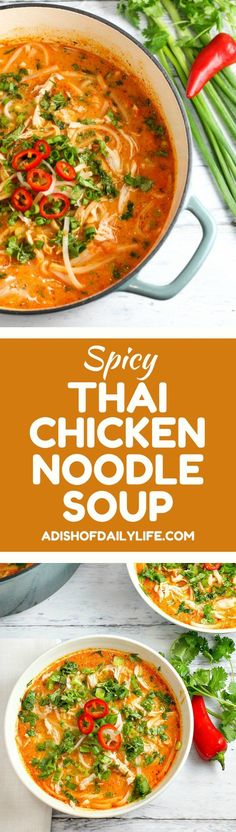 Thai Chicken Noodle Soup - A Dish of Daily Life Skip the takeout! This Thai Chicken Noodle Soup is easy to make at home with ingredients you can find in your local supermarket. If you love Thai food, you need to try this recipe! Thai Recipes, Asian Recipes, Cooking Recipes, Thai Cooking, Easy Recipes, Noodle Recipes, Recipes Dinner, Cooking Ideas, Thai Chicken Noodles