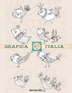 20 Doodle Bird Clip Art Whimsical Birds Digital Clipart Digital Download Transparent Background Line Art Scrapbooking Color Book Birds 001