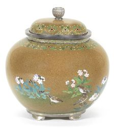 A cloisonné-enamel jar and cover  By Namikawa Yasuyuki (1845-1927), Meiji Period, circa 1900 (2)