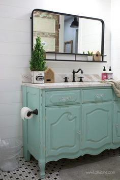 Granny pods farmhouse Love this aqua dresser to vanity makeover. Such an easy way to turn an old dresser into a bathroom vanity to give it new life. Love this colorful farmhouse bathroom decor! Aqua Dresser, Dresser Vanity Bathroom, Bathroom Vanity Makeover, Small Bathroom Vanities, Bathroom Furniture, Bathroom Makeovers, Furniture Redo, White Bathroom, Seashell Bathroom