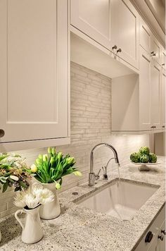 Smoke Glass Subway Tile | White shaker cabinets, Shaker cabinets and ...