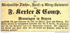 Original-Werbung/ Anzeige 1868 - MECHANISCHE FLACHS- HANF- UND WERGSPINNEREI KERLER MEMMINGEN - ca. 65 x 30 mm