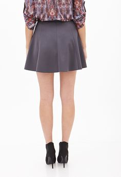 Seam-Stitched Skater Skirt - Women - 2000066879 - Forever 21 UK