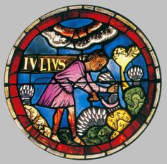 ROMANESQUE GLASS PAINTER, SwissRose window: Julyc. 1170Stained glass windowCathedral, Lausanne
