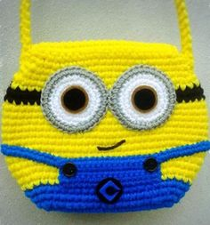 Crochet Gifts, Cute Crochet, Beautiful Crochet, Crochet Baby, Single Crochet, Minion Crochet Patterns, Crochet Backpack, How To Make Purses, Crochet Purses