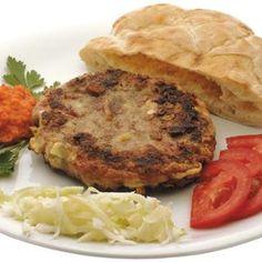 Pljeskavica Montenegrói Gurman módra - Megrendelhető itt: www.Zmenu.hu - A vizuális ételrendelő. Salmon Burgers, Pork, Meat, Ethnic Recipes, Kale Stir Fry, Pork Chops