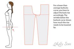Pattern alteration for a lower buttocks curve - Doll Dress Patterns, Sewing Patterns Girls, Dress Making Patterns, Clothing Patterns, Shirt Patterns, Pattern Making, Sewing Jeans, Sewing Clothes, Sewing Hacks