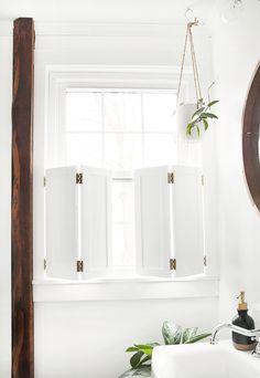 Lamellentüren DIY Interior Window Shutters DIY Interior Window Shutters The Merrythough Window Shutters Diy, Interior Windows, Diy Bathroom, Small Bathroom Window, Bathroom Windows, Interior, Bathrooms Remodel, Diy Interior, Diy Interior Window Shutters