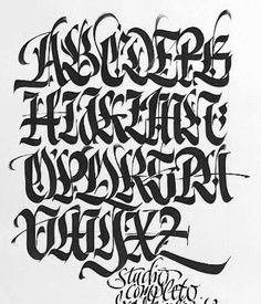 Calligraphy Graffiti Alphabet A-Z Lettering Arts by Luca Barcellona - Blackletter letters Graffiti Lettering Fonts, Chicano Lettering, Tattoo Lettering Fonts, Graffiti Alphabet, Creative Lettering, Lettering Styles, Typography Letters, Lettering Design, Hand Lettering