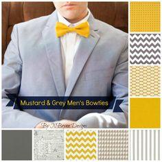 Men's mustard & grey bowties groomsmen bow tie  chevron seersucker linen houndstooth by NBrynnDesign, $11.95