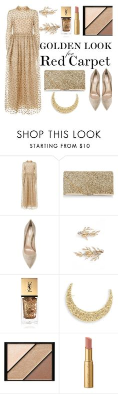 """""""RED CARPET: Golden Look"""" by ddalginanabeauty ❤ liked on Polyvore featuring Valentino, New Look, Gianvito Rossi, Brides & Hairpins, Yves Saint Laurent, Robert Rose, Elizabeth Arden, Too Faced Cosmetics and RedCarpet"""