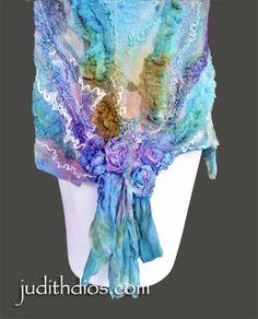 Amethyst Roses on Royal Blue & Turquoise Nuno Felting, Needle Felting, Felt Art, Fabric Art, Wool Yarn, Scarfs, Textile Art, Fiber Art, Scarf Wrap