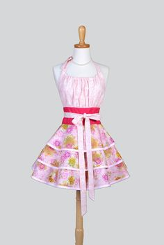 Flirty Chic - Spring Pink Floral and Swirls Hostess Apron - Creative Chics - 1
