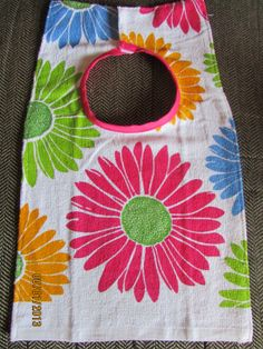 Flower Power Towel Bib by KaraMaberyKreations on Etsy, $9.00