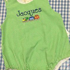 Choo choooooo!  Jacques is going to be so darling in his green #gingham #babybubble ! Whether embroidered for #babyboys or #babygirls, this color can't be beat!  Reordering more and thought I might try it in other colors, too, in addition to the pink and light blue already in stock. What would you buy?  Red?  Navy?  Show me the way! #sewsewswell #embroidery #personalized #machineembroidery #choochootrain #babyclothes