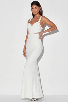 Casual White Wedding Dress, Lulus Wedding Dress, White Bridal Dresses, White Maxi Dresses, Cute Dresses, Bridal Gowns, White Dress, Long Dresses, Lace Maxi