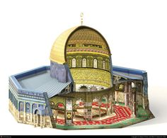185. Dome of the Rock. Jerusalem, Palestine. Islamic, Umayyad. 691–692 C.E., with multiple renovations. Stone masonry and wooden roof decorated with glazed ceramic tile, mosaics, and gilt aluminum and bronze dome.