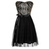 Tinsel and Twirl Black and Gold Sequin and Tulle Dress