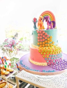 Nestology's Birthday / My Little Pony, Rainbow - Photo Gallery at Catch My Party Unicorn Themed Birthday Party, Girls Birthday Party Themes, Rainbow Birthday Party, Birthday Party Favors, Unicorn Party, 5th Birthday, Birthday Cakes, Birthday Ideas, My Little Pony Party
