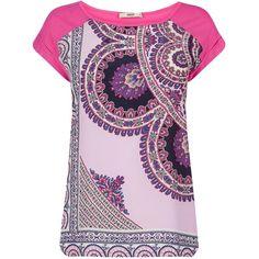 Oasis Asymmetric Paisley Print T-Shirt, Multi Pink ($31) ❤ liked on Polyvore