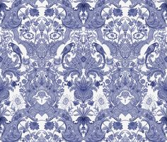 Parrot Damask ~ Blue and White ~ Centered Birds ~ by PeacoquetteDesigns on Spoonflower ~ bespoke fabric, wallpaper, wall decals & gift wrap ~ Join PD  ~ https://www.facebook.com/PeacoquetteDesigns