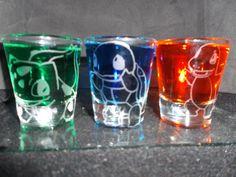 Pokemon starter etched shot glass set of 3 fan art by CustomShot, $15.00