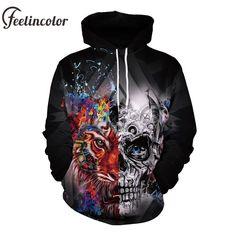 Feelincolor 2018 Skull Hoodies Man 3D Printed Pocket Hoodie Unisex Hiphop Sweatshirts  Pullovers Hoody Sudaderas Para 7a334603aeb6