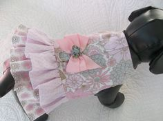 Pink Grey Ruffle Dog or Cat  Dress Custom Made by graciespawprints