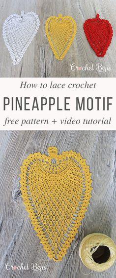 Pineapple Motif Lace Crochet Free Pattern Video Tutorial