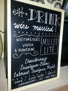 SHOULD have 2, one on each side of the bar so everyone can see. Wedding bar menu add a little shine.