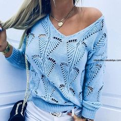 Casual Sweaters, Blue Sweaters, Off Shoulder Sweater, Holiday Sweater, Types Of Sleeves, Chic Outfits, Sleeve Styles, Pullover, Clothes For Women