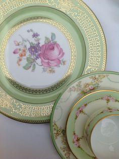 Tirschenreuth dinner plate, Meito salad, KPM cup/saucer.