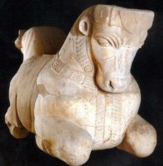 Carved Bull (5th cent. BCE) found in the Eshmun sanctuary near Sidon, South Lebanon, home to the Phoenicians' largest city. This marble protome shows the influence of Achaemenid rule at the time. The Achaemenid Empire (c. 550–330 BCE) was a Persian empire in Western Asia, founded in the 6th century BCE by Cyrus the Great, who overthrew the Median confederation.