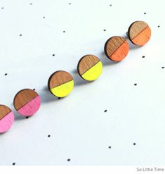 So Little Time neon dipped wood earrings