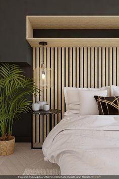 Votre pièce manque de charme et vous ne savez pas comment habiller les murs ? Donnez-lui un peu de relief avec des tasseaux de bois. #déco #rhinov #projet3D #chambre #tasseaux #bois #contemporain #style #design #rangement #lit