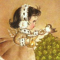 Vintage Christmas Card Angel and Baby Wildlife Eve Rockwell