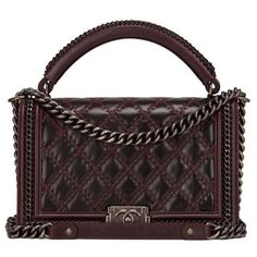 Preowned Chanel Burgundy Quilted Shiny Goatskin New Medium Boy Bag... (4.711.140 CLP) ❤ liked on Polyvore featuring bags, handbags, red, quilted handbags, chanel handbags, preowned handbags, woven leather handbags and strap purse