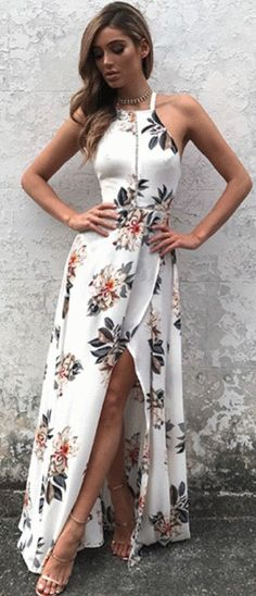A floral maxi dress for sticking your leg way out when you pose.