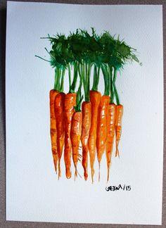 ORIGINAL watercolor painting CARROTS A4 210 X by CaroWatercolors