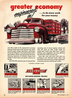 Photos and description of Chevrolet stake truck,Chevrolet. Everything you want to know about this car. 1946 Chevy Truck, Rv Truck, Chevrolet Trucks, Chevy Trucks, Chevrolet 3100, Pickup Trucks, Vintage Advertisements, Vintage Ads, Station Wagon