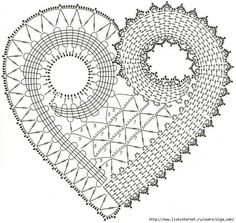 Crochet heart pattern. Corazón de ganchillo. Irish Crochet Patterns, Crochet Doily Diagram, Crochet Motifs, Freeform Crochet, Crochet Chart, Thread Crochet, Crochet Squares, Crochet Stitches, Crochet Embellishments