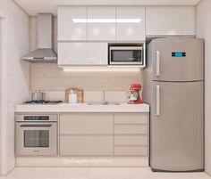 Cozinha pequena e clara com eletros cinza | (@julianaperinearquitetura)