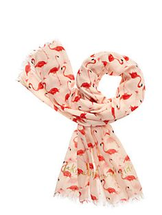 printed with pink flamingos, this oversized twill scarf is the perfect way to add some color to your ensemble.