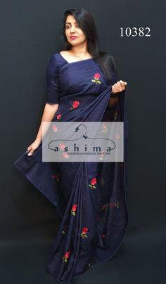 Blue Silk Saree, Peach Saree, Kora Silk Sarees, Tussar Silk Saree, Chiffon Saree, Saree Embroidery Design, Hand Embroidery Dress, Flower Embroidery, Embroidery Stitches