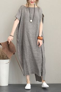 Loose Quilted Striped Maxi Dresses Women Linen Clothes Q1188 | FantasyLinen