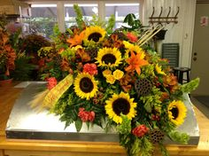 BloomNation: Send Flowers Same-Day Church Flowers, Funeral Flowers, Fall Flowers, Pretty Flowers, Flower Arrangement Designs, Unique Flower Arrangements, Casket Flowers, Funeral Caskets, Funeral Floral Arrangements