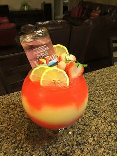 This refreshing cocktail comes together with Seagram's Escapes Jamaican Me Happy, fresh fruit, and a tasty garnish! Candy Drinks, Liquor Drinks, Cocktail Drinks, Fun Drinks, Yummy Drinks, Cocktail Recipes, Beverages, Cocktails, Mixed Drinks